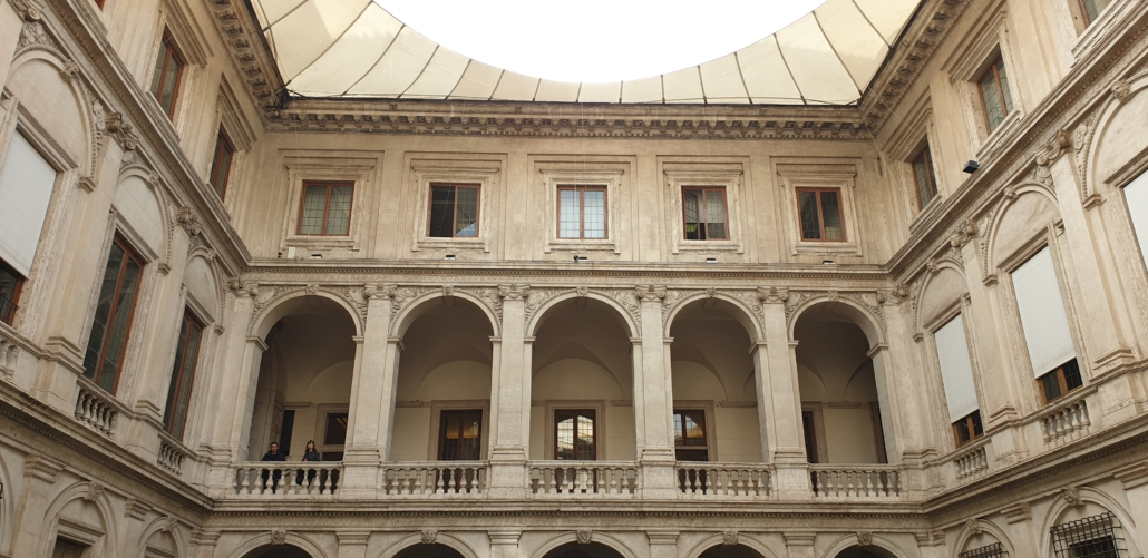 Rome, monumental courtyard inside Palazzo Altemps
